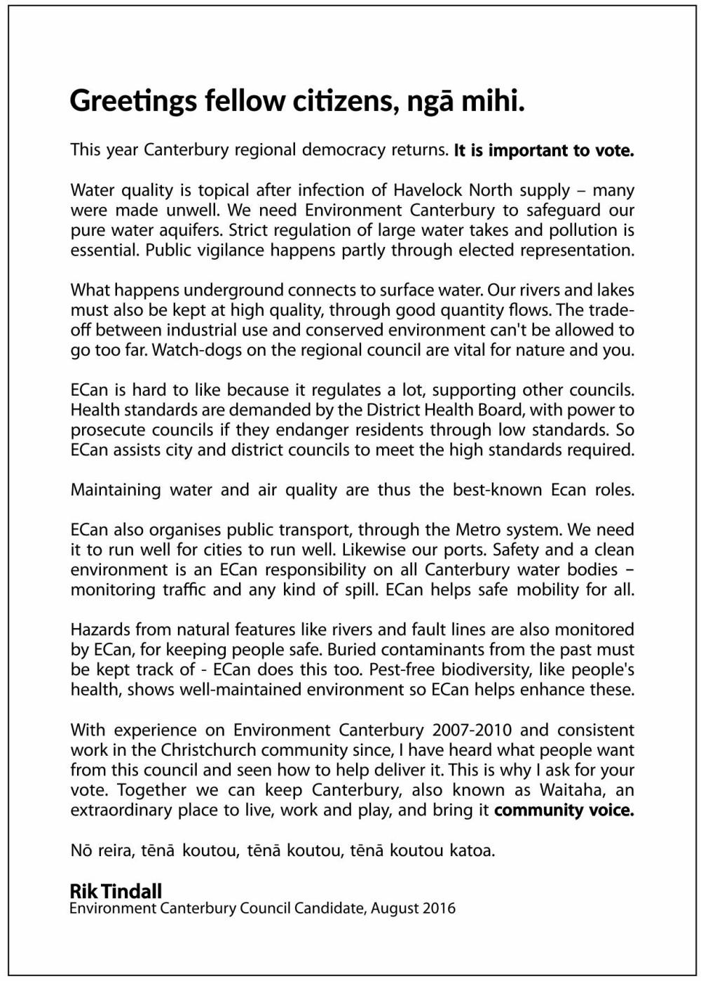J024123 - Rik Tindall A6 Election Leaflets 2016